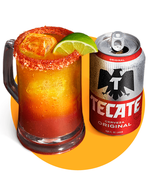 A mug of mixed Tecate® Original with clam juice and ice.