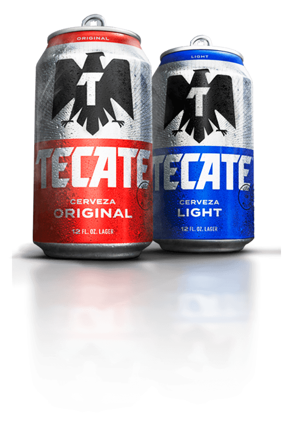 New design of Tecate® Original and Tecate® Light cans on red background.