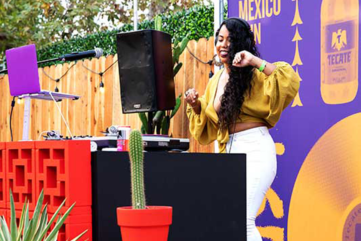 Cumbiation dancing while tappning a set at El Patio Tecate® Episode 1 2020